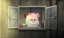 [McDull at the window]